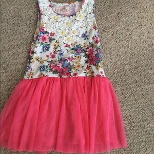 Girls 3T floral and peach tulle dress